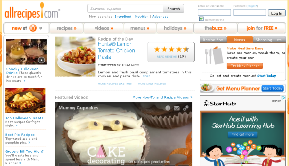 Screenshot of Allrecipes