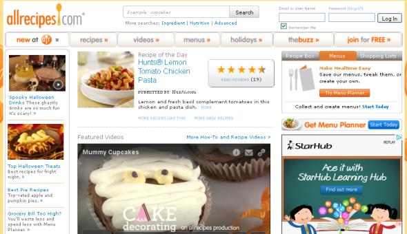 Screenshot of Allrecipes