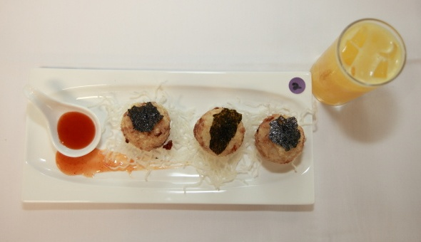 Fried Rice Ball with Chicken Meat and Fresh Oranges
