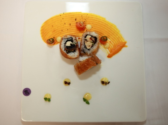 Golden Fried Maki with Pickled Vegetables, Carrot Puree and Wasabi Mayonnaise