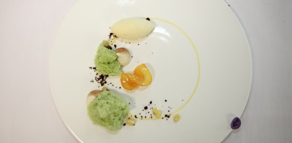 Kueh Dadar with Coconut Filling, Orange Custard Sauce, Apple Confit and Toasted Bread Ice-cream